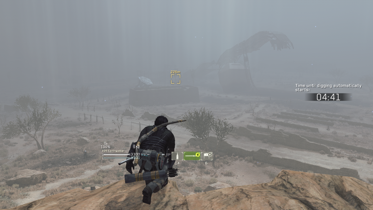 Scouting from a cliff in Metal Gear Survive - X35 Earthwalker