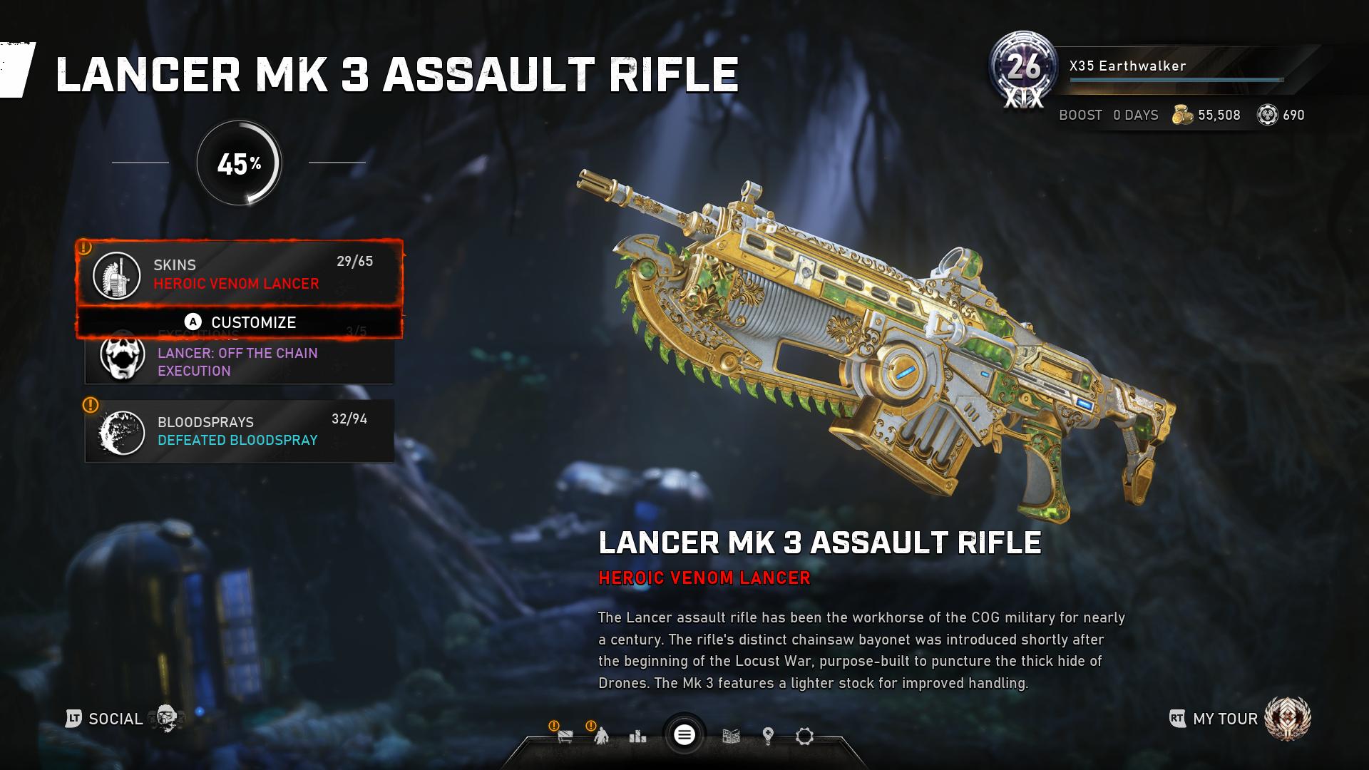 X35 Earthwalker. Gears 5 Lancer is terrible